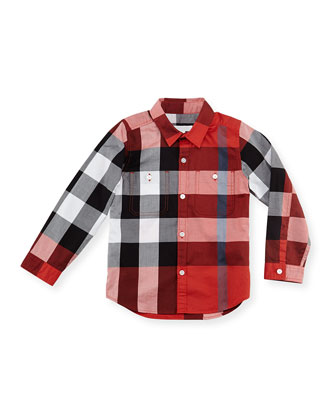 Check Sport Shirt, Red, 4Y-10Y