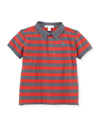 Striped Polo Shirt, Gray/Orange, 6Y