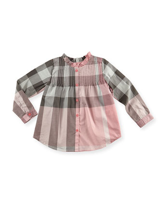 Check Pintuck Long-Sleeve Shirt, Light Pink, 4Y-10Y