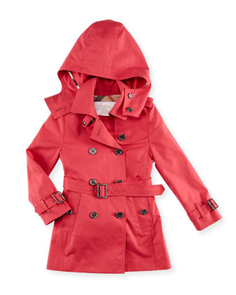 Cotton Twill Hooded Trench Coat, Pink, 6Y-10Y
