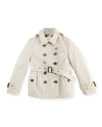 Cotton Trench Coat, Tan, 6Y-10Y