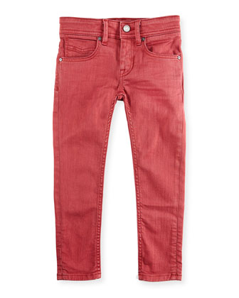 Five-Pocket Skinny Jeans, Dark Red, 6Y-10Y
