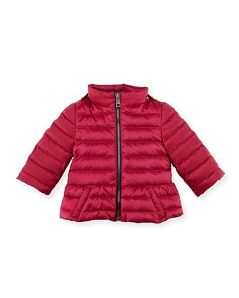 Shiny Nylon Puffer Coat, Pink, 6-24 Months