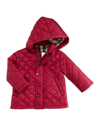 Quilted Hooded Nylon Jacket, Pink, 6M-2Y