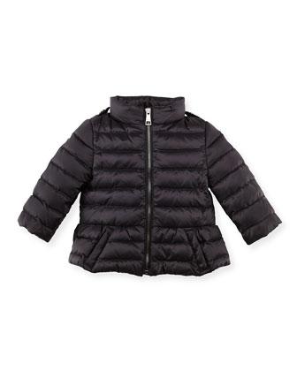 Shiny Nylon Puffer Coat, Black, 6-24 Months