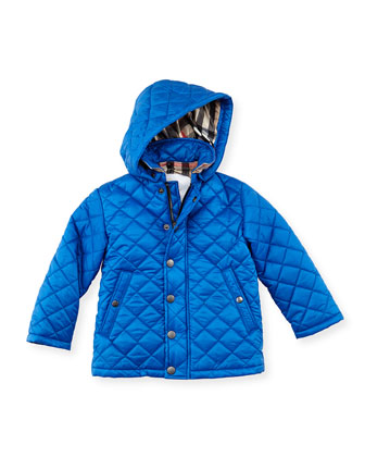 Quilted Hooded Nylon Jacket, Periwinkle,