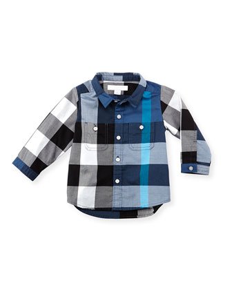 Large-Check Two-Pocket Shirt, Dark Blue, 3-18 Months