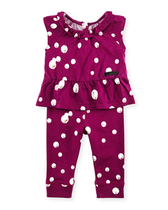 Long-Sleeve Peplum Shirt, Cap-Sleeve Peplum Top & Leggings Set, Fuchsia, 3-18 Months
