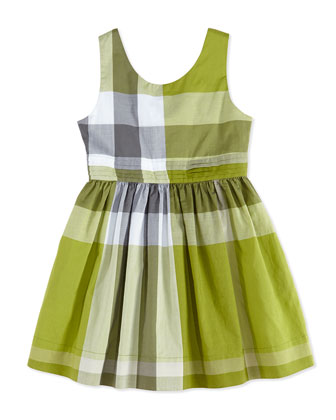 Check Dress with Back Bow, Green, Girls' 4Y-10Y