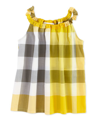 Check Tank Top, Yellow, Girls' 4Y-10Y