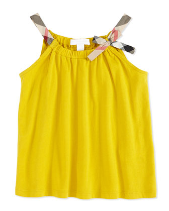 Check-Strap Jersey Top, Yellow, Girls' 4Y-10Y