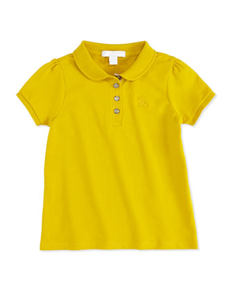 Girls' Check-Placket Polo, Yellow, 4Y-10Y