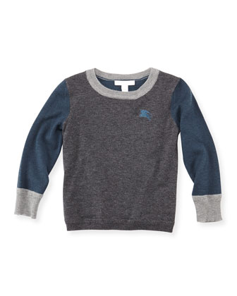 Colorblock Cashmere Sweater, Dark Gray, 4Y-10Y