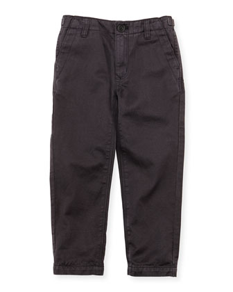 Linen-Cotton Pants, Black, 4Y-10Y