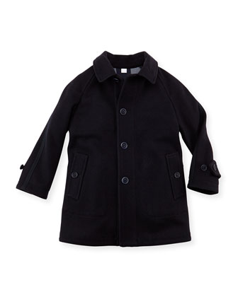 Boys Wool Trench Coat, Navy, 4Y-10Y