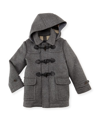 Boys' Wool Hooded Coat, Gray, 4Y-10Y