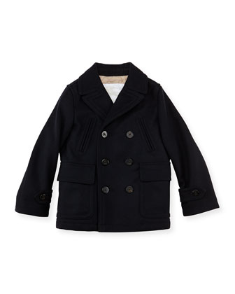 Boys' Cashmere-Wool Coat, Navy, 4Y-10Y