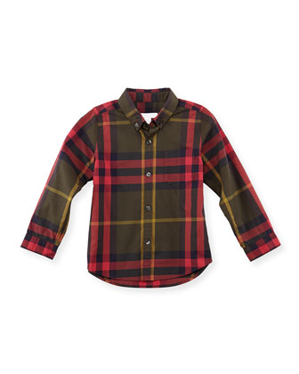 Boy's Plaid Button-Down Shirt, Olive, 4Y-10Y