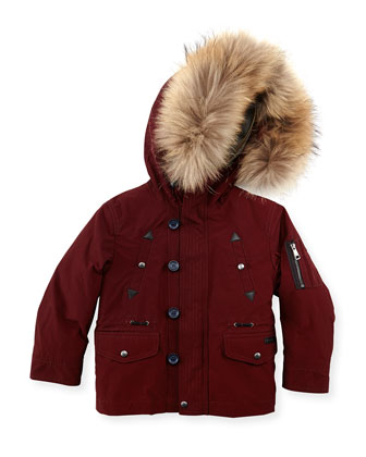 Boys' Fur-Trim Hooded Coat, Dark Red, 4Y-10Y