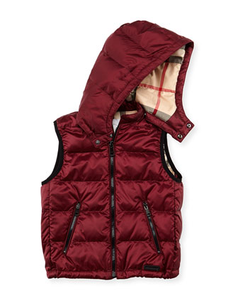 Boys' Hooded Puffer Vest, Maroon, 4Y-10Y