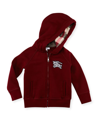 Zip Hooded Sweater, Maroon, 4Y-10Y