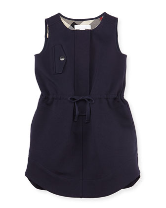Girls' Gabardine Sleeveless Dress, Navy, 4Y-10Y