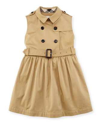 Sleeveless Trench Dress, Amber, Girls' 4Y-10Y