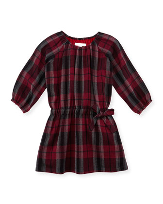 Girls' Check Wool Dress, Burgundy, 4Y-10Y
