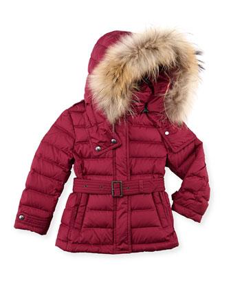 Girls' Fur-Trim Belted Puffer Coat, Pink, 4Y-10Y