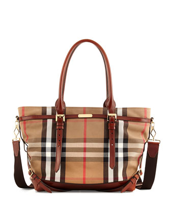 Check Canvas Diaper Bag, Tan