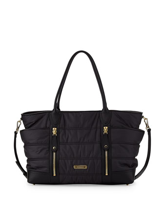 Quilted Nylon Diaper Bag, Black