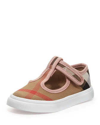 Check Canvas Sneakers, Pink, Toddler