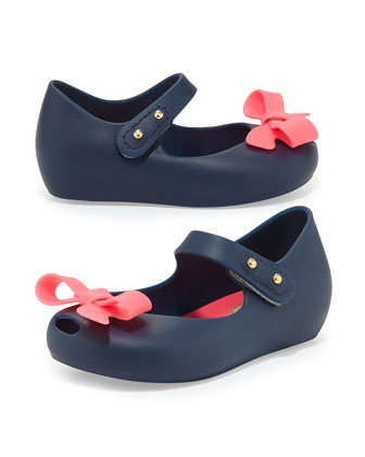 Mini Ultragirl Bow Jelly Flats, Blue/Pink