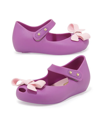 Mini Ultragirl Bow Jelly Flats, Lilac/Pink