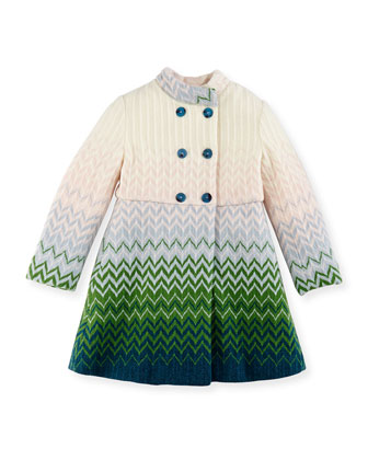 Zigzag Knit Double-Breasted Coat, Multi, Girls' 2-10