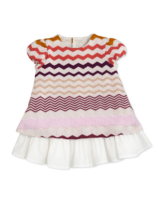 Zigzag Knit Dress, Pink/Multi, 0-9 Months