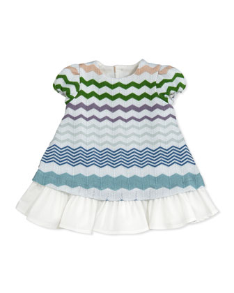 Zigzag Knit Dress, Blue/Green, 0-9 Months