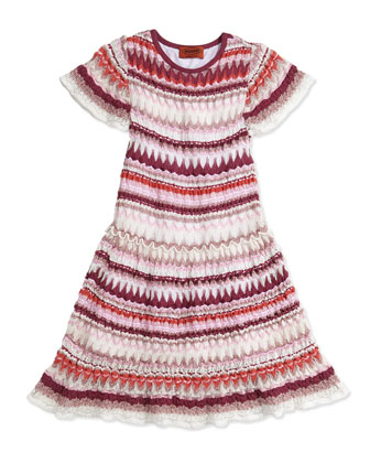 Zigzag Knit Drop-Waist Dress, Girls' Sizes 2-10