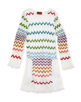 Zigzag Knit Drop-Waist Dress, Multi, Girls' Sizes 2-10