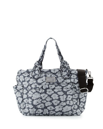 Pretty Nylon Floral-Print Baby Bag, Black