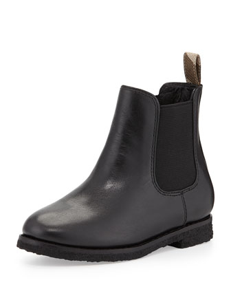 Short Leather Weather Boot, Black, Kids'
