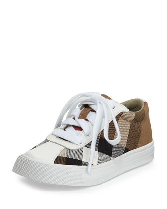 Lace-Up Check Low-Top Sneaker, White, Infants'