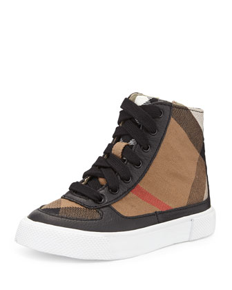 Canvas/Leather High-Top Sneaker, Black, Infants'