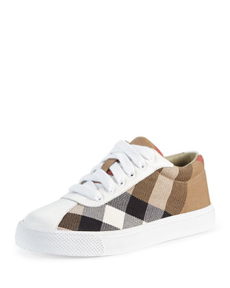 Check/Leather Low-Top Sneaker, White, Kids'