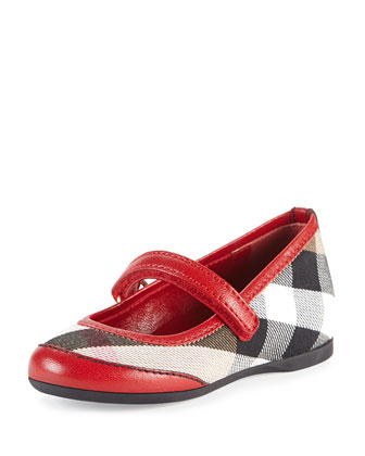 Check/Leather Ballerina Flat, Parade Red, Infant