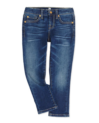 Slim Cropped Girls' Jeans, Blue Shadow, 7-14