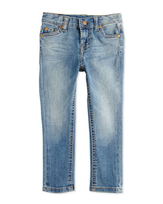 Faded Skinny Jeans, Light Cobalt, Sizes 2-4