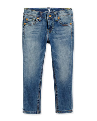 The Skinny Faded Denim Jeans, Light Cobalt Blue, Size 4-6X