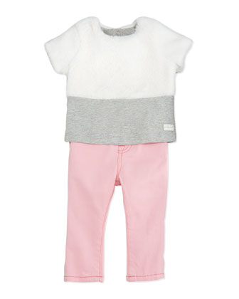 Plush Faux-Fur Top & Skinny Jeans Set, 12-24 Months