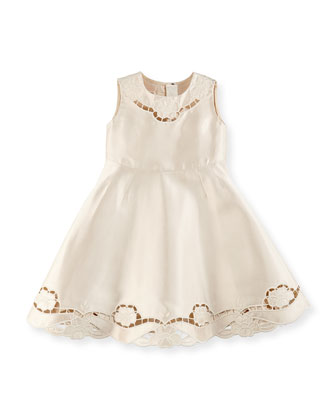 Satin Cutwork-Trim Dress, Girls' 4-6